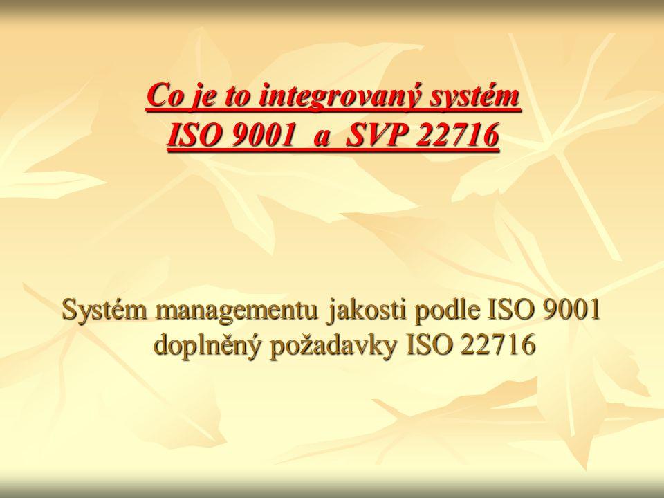 Co je to integrovaný systém ISO 9001 a SVP 22716 Systém managementu jakosti podle ISO 9001 doplněný požadavky ISO 22716