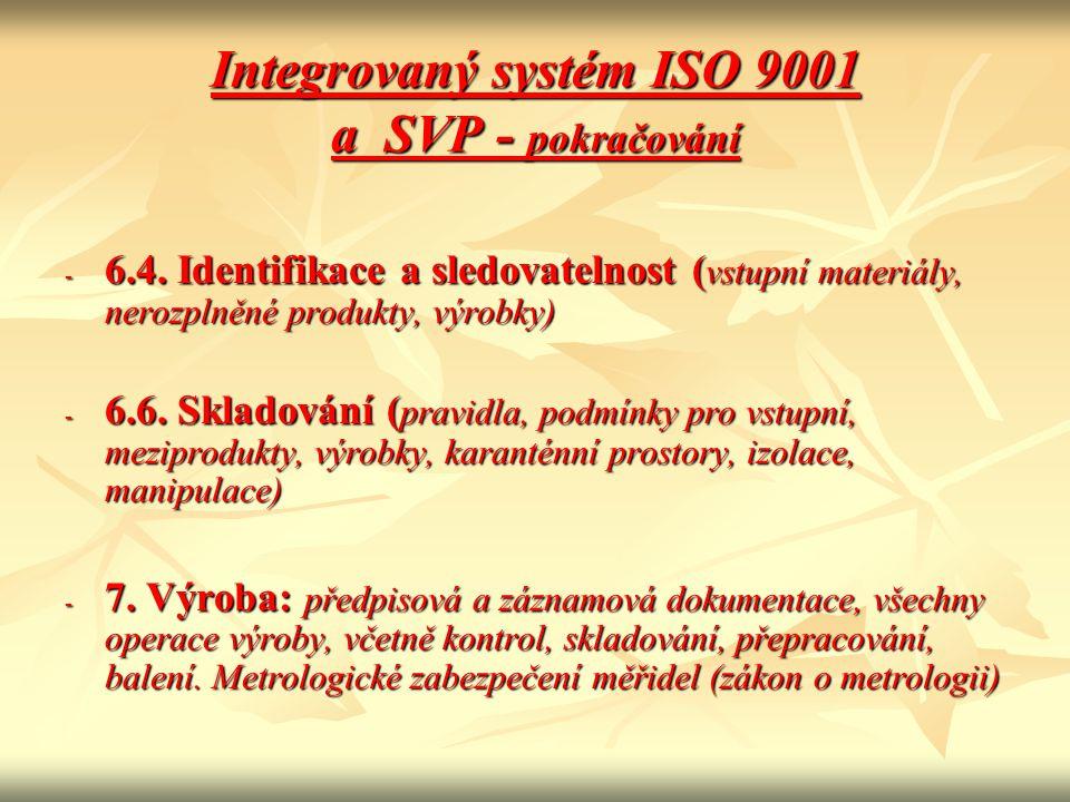 Integrovaný systém ISO 9001 a SVP - pokračování - 6.4. Identifikace a sledovatelnost ( vstupní materiály, nerozplněné produkty, výrobky) - 6.6. Sklado