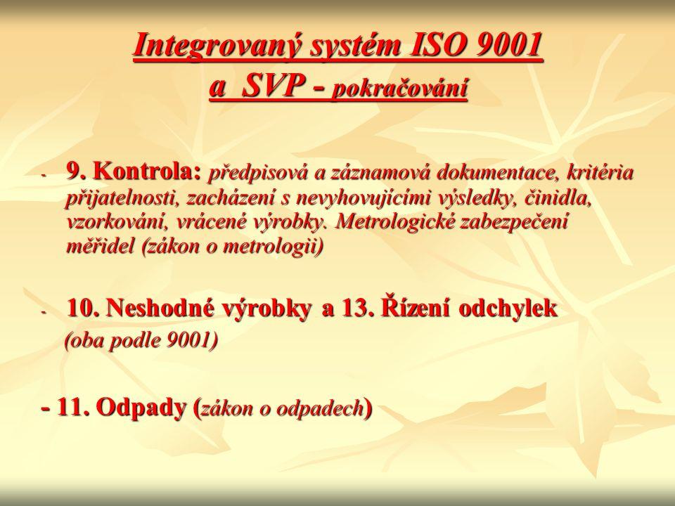 Integrovaný systém ISO 9001 a SVP - pokračování - 9. Kontrola: předpisová a záznamová dokumentace, kritéria přijatelnosti, zacházení s nevyhovujícími