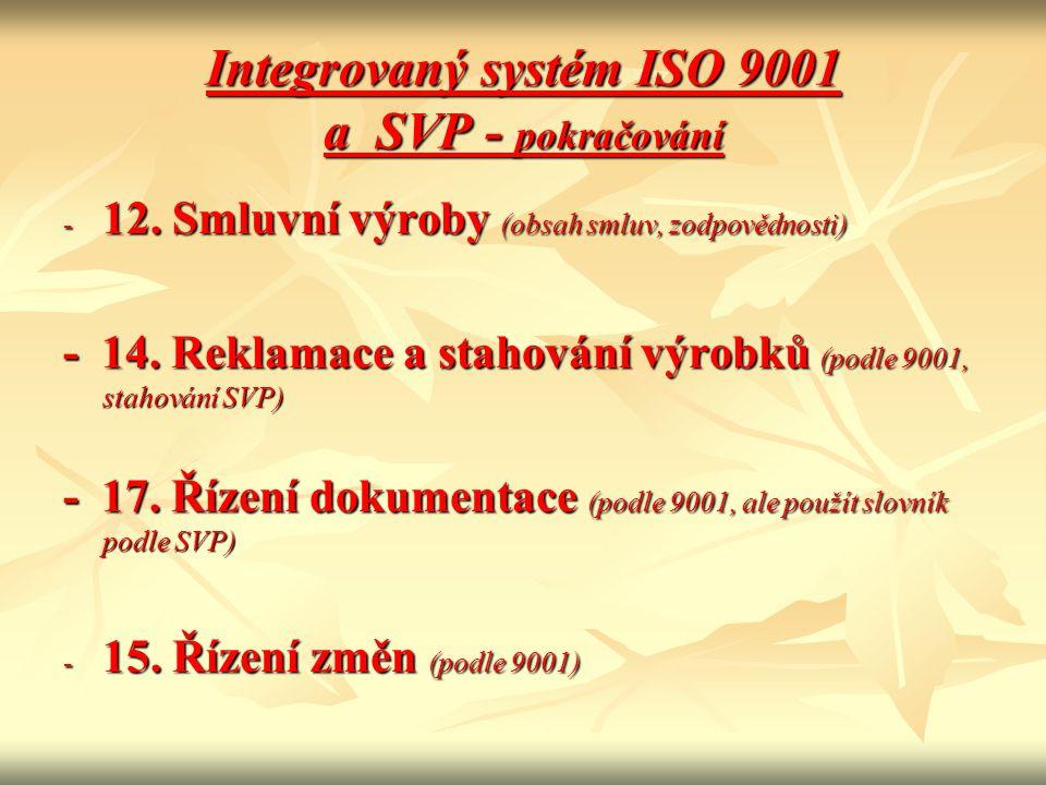 Integrovaný systém ISO 9001 a SVP - pokračování - 12. Smluvní výroby (obsah smluv, zodpovědnosti) - 14. Reklamace a stahování výrobků (podle 9001, sta