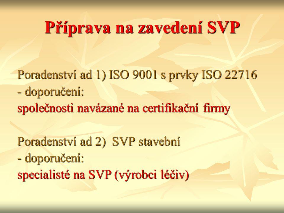 Příprava na zavedení SVP Poradenství ad 1) ISO 9001 s prvky ISO 22716 - doporučení: společnosti navázané na certifikační firmy Poradenství ad 2) SVP stavební - doporučení: specialisté na SVP (výrobci léčiv)