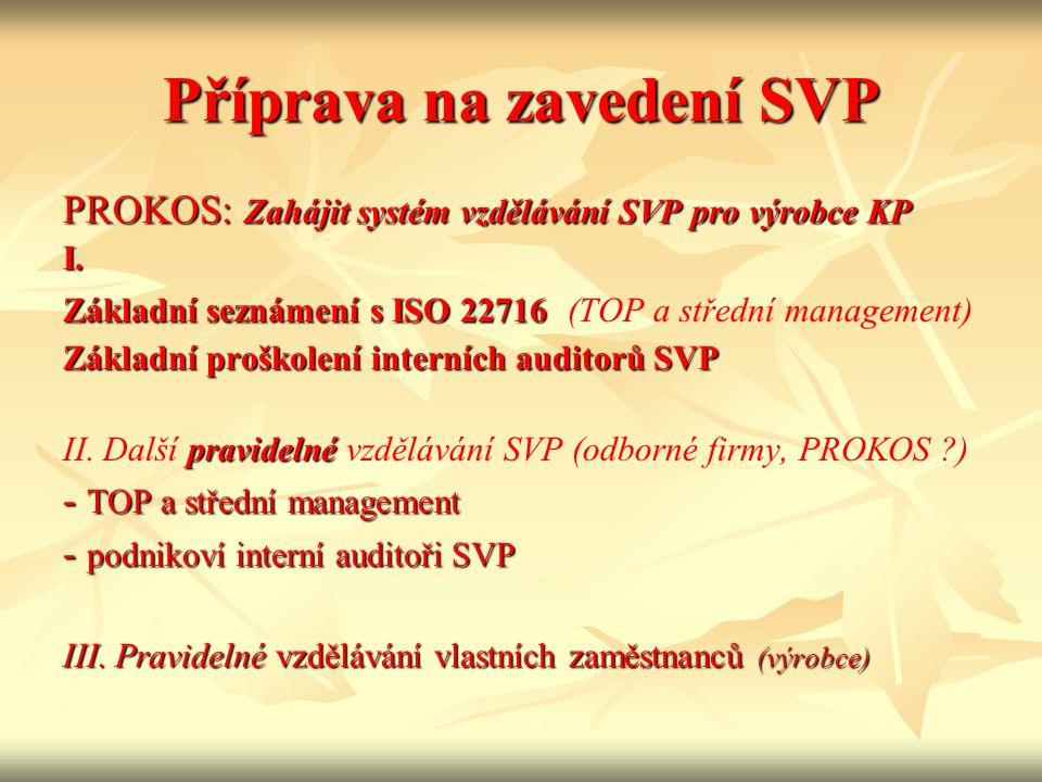 Příprava na zavedení SVP PROKOS: Zahájit systém vzdělávání SVP pro výrobce KP I. Základní seznámení s ISO 22716 Základní seznámení s ISO 22716 (TOP a