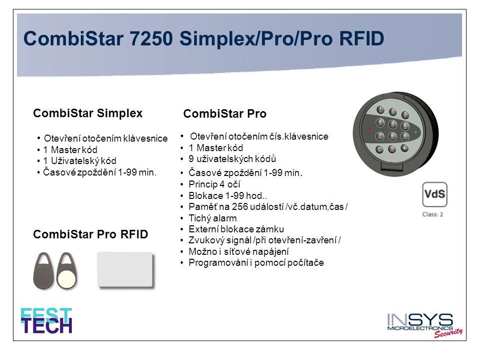 • Otevření otočením klávesnice • 1 Master kód • 1 Uživatelský kód • Časové zpoždění 1-99 min. CombiStar Simplex CombiStar Pro • Otevření otočením čís.