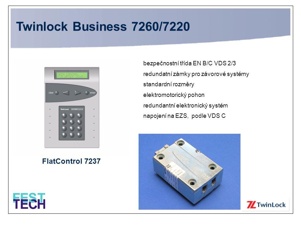 TwinLock 7260/7220 Business •VdS - bezpečnostní třída 2/3 •Zadávání pomocí PIN kódu nebo čipové karty •99 uživatelů a 100 čipových karet •Přestavitelné zastarání kódu •Přestavitelné časové zpoždění a otevírací okna pro každý zámek •Individuální uživatelská práva •5 časových oken pro každý den •Vícezámkový systém, max.