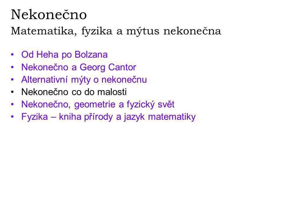 Nekonečno Matematika, fyzika a mýtus nekonečna •Od Heha po Bolzana •Nekonečno a Georg Cantor •Alternativní mýty o nekonečnu •Nekonečno co do malosti •