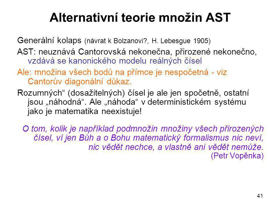 41 Alternativní teorie množin AST Generální kolaps (návrat k Bolzanovi?, H. Lebesgue 1905) AST: neuznává Cantorovská nekonečna, přirozené nekonečno, v