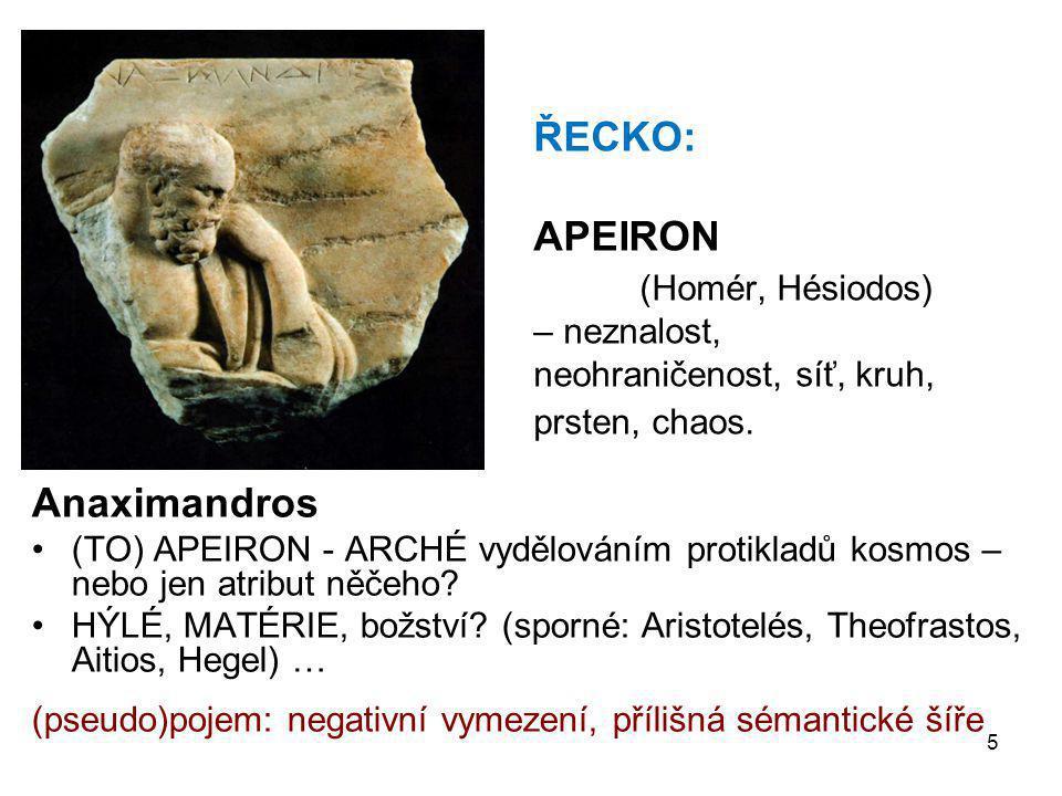 5 ŘECKO: APEIRON (Homér, Hésiodos) – neznalost, neohraničenost, síť, kruh, prsten, chaos. Anaximandros •(TO) APEIRON - ARCHÉ vydělováním protikladů ko