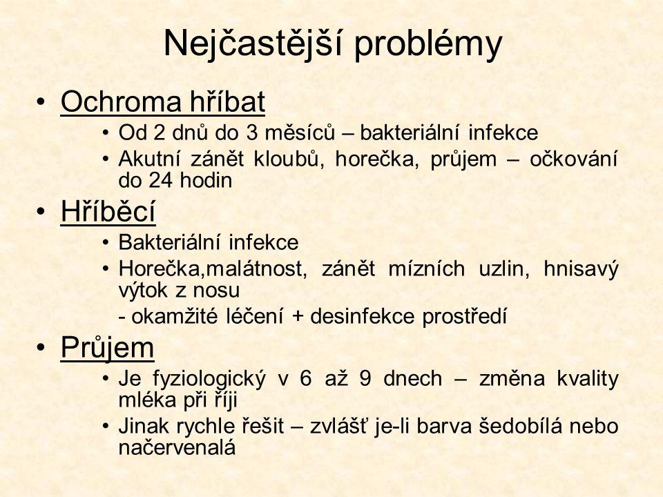 Nejčastější problémy •Ochroma hříbat •Od 2 dnů do 3 měsíců – bakteriální infekce •Akutní zánět kloubů, horečka, průjem – očkování do 24 hodin •Hříběcí •Bakteriální infekce •Horečka,malátnost, zánět mízních uzlin, hnisavý výtok z nosu - okamžité léčení + desinfekce prostředí •Průjem •Je fyziologický v 6 až 9 dnech – změna kvality mléka při říji •Jinak rychle řešit – zvlášť je-li barva šedobílá nebo načervenalá