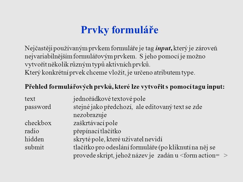 Prvky formuláře Nejčastěji používaným prvkem formuláře je tag input, který je zároveň nejvariabilnějším formulářovým prvkem. S jeho pomocí je možno vy