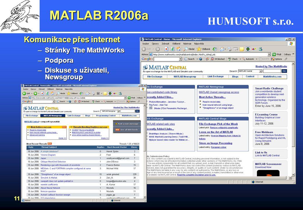 HUMUSOFT s.r.o. 10 MATLAB R2006a •Rozáhlá nápověda –index s názvy matematických i grafických funkcí –možnost vyhledávání podle klíčového slova –záložk