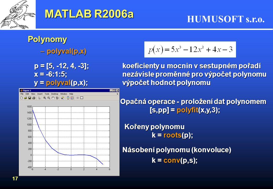 HUMUSOFT s.r.o. 16 Logaritmy –přirozený logaritmus log(x) –dekadický logaritmuslog10(x) – e x exp Zaokrouhlování –fix zaokrouhlení směrem k 0 –floorza