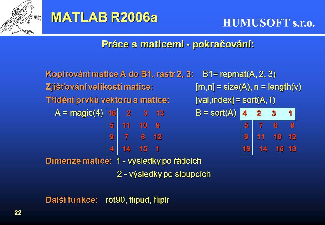 HUMUSOFT s.r.o. 21 MATLAB R2006a Indexování matic - lineární index: 4-2.352 155 -2 3 5 5 0 4 1 7 7.5 1 10 -3 0 8 9 8.8 -3 2 1 2 3 4 5 6 7 8 9 1015 14