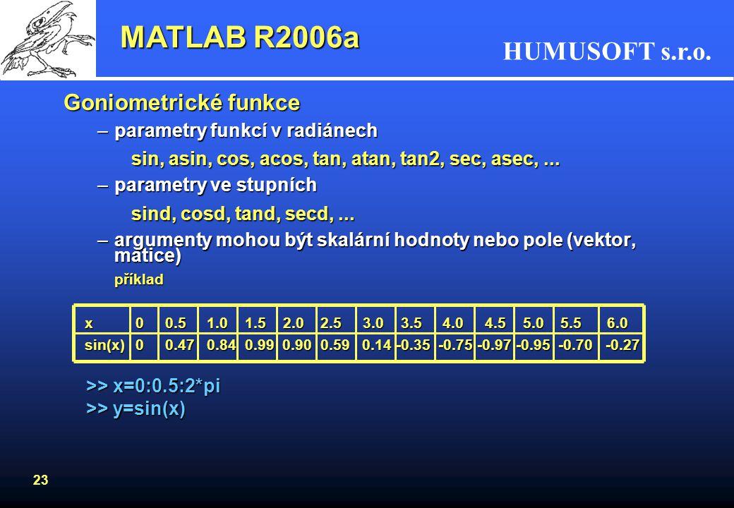HUMUSOFT s.r.o. 22 MATLAB R2006a Práce s maticemi - pokračování: Kopírování matice A do B1, rastr 2, 3: B1= repmat(A, 2, 3) Zjišťování velikosti matic