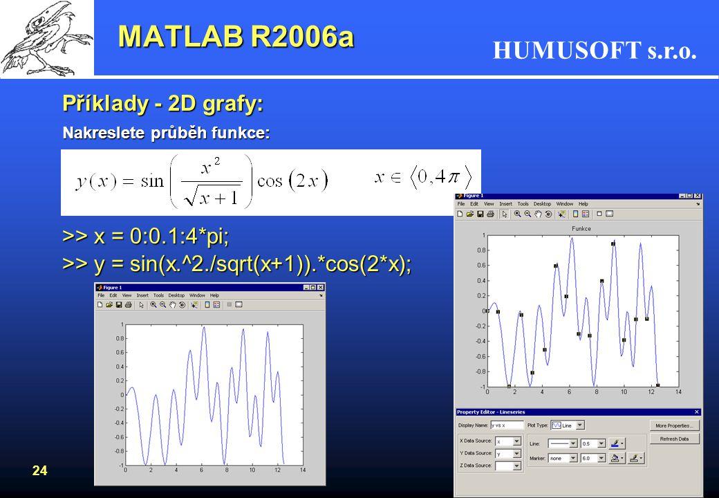 HUMUSOFT s.r.o. 23 Goniometrické funkce –parametry funkcí v radiánech sin, asin, cos, acos, tan, atan, tan2, sec, asec,... –parametry ve stupních sind