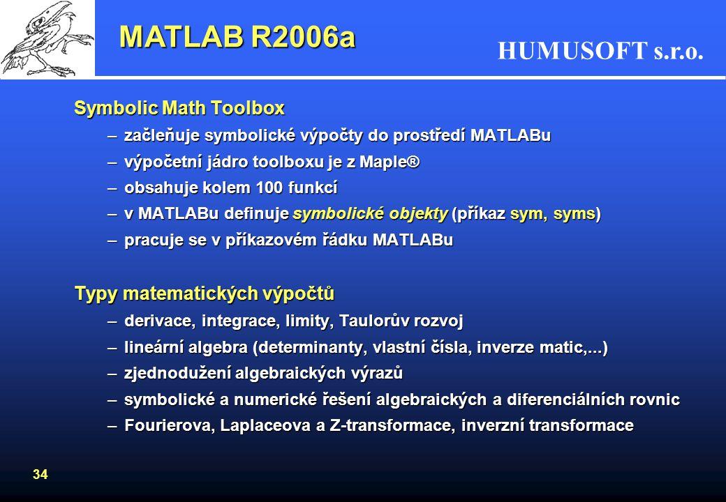 HUMUSOFT s.r.o. 33 Tvorba vlastních aplikací MATLAB R2006a –Vlastní editor –Ladění kódu –optimalizace