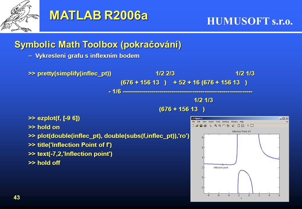 HUMUSOFT s.r.o. 42 Symbolic Math Toolbox (pokračování) –Vykreslení funkce s lokálním minimem a maximem >> plot(double(body_x), double(subs(f,body_x)),