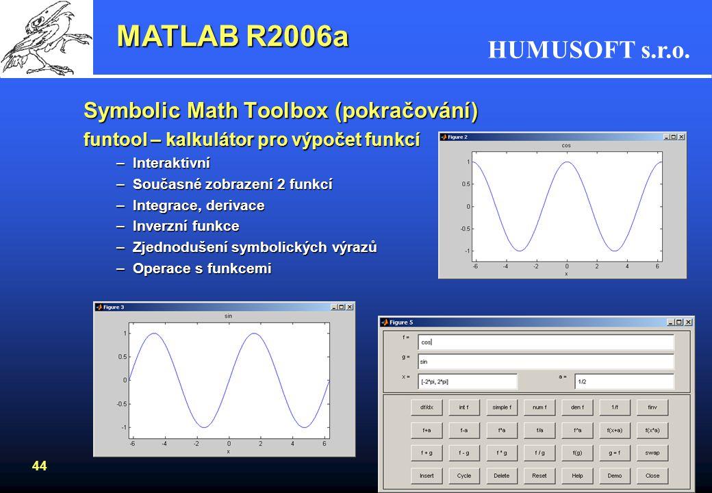 HUMUSOFT s.r.o. 43 MATLAB R2006a Symbolic Math Toolbox (pokračování) –Vykreslení grafu s inflexním bodem >> pretty(simplify(inflec_pt)) 1/2 2/3 1/2 1/