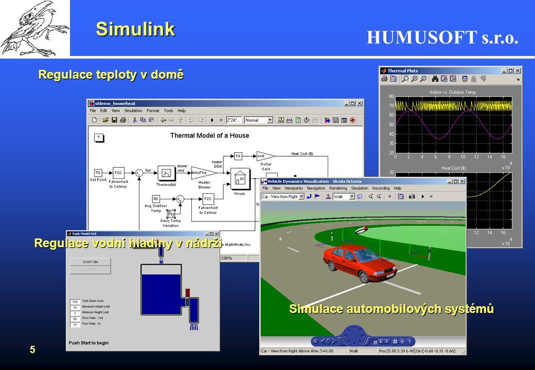 HUMUSOFT s.r.o. 4 Symbolic Math Toolbox Začleňuje symbolické výpočty do prostředí MATLABu