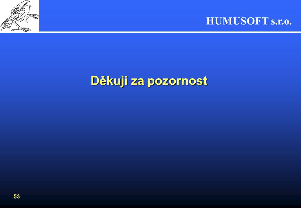 HUMUSOFT s.r.o. 52 MATLAB R2006a •Platformy, HW - pokračování Macintosh –Panther •Mac OS X 10.3.9,10.3.8 •RAM (512) 1024, swap 64MB •místo na HDD 460