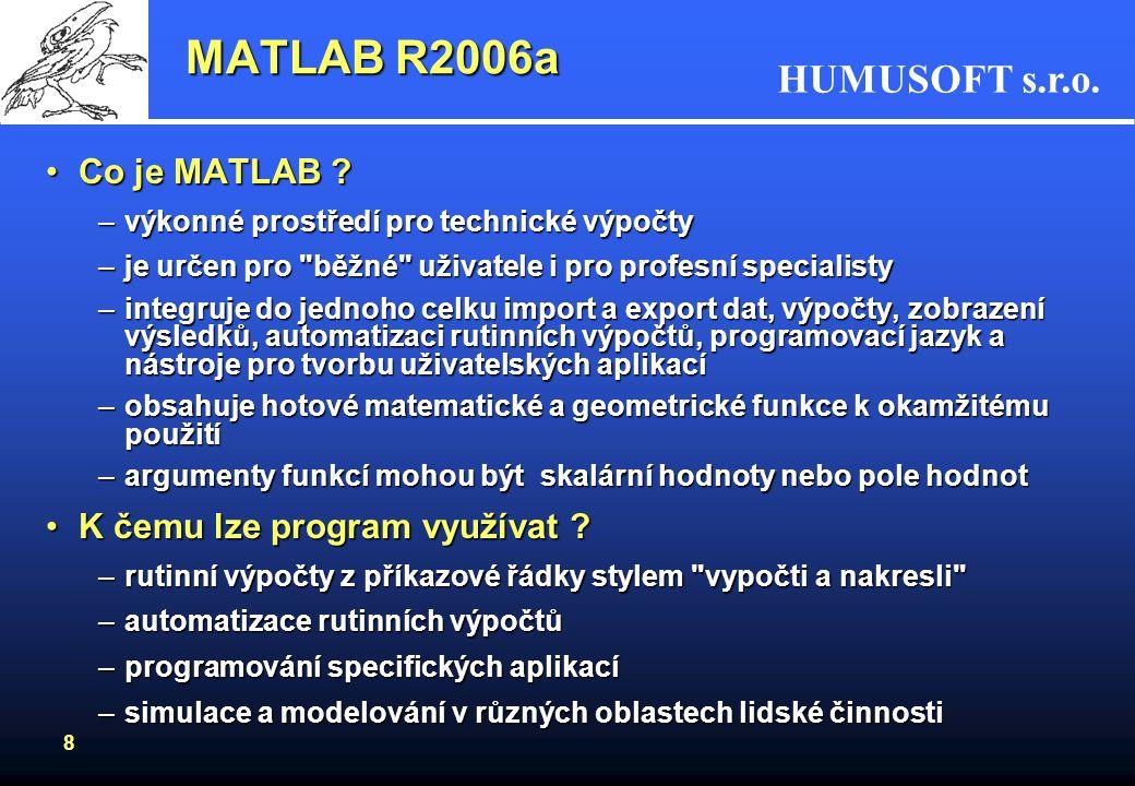 HUMUSOFT s.r.o.8 MATLAB R2006a •Co je MATLAB .