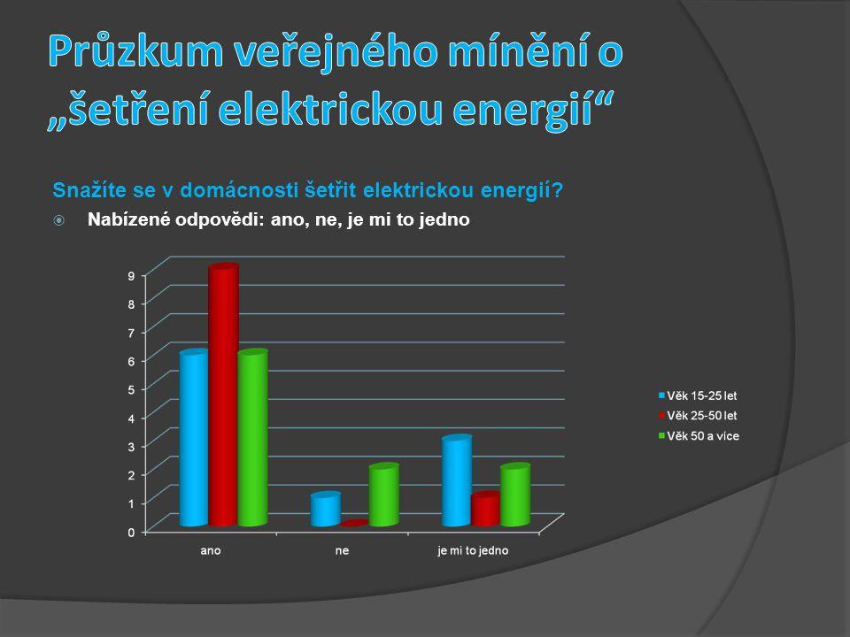 Snažíte se v domácnosti šetřit elektrickou energií?  Nabízené odpovědi: ano, ne, je mi to jedno