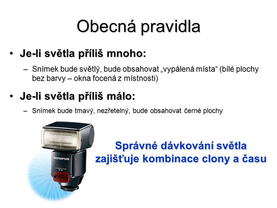 •Také udává (převráceně)velikost otvoru, kterým objektiv propouští světlo na snímač •Označuje se písmenkem f •Např.: f8 (přesněji 1:8)znamená, že ke snímači projde 1/8 světla, které zachytí objektiv, f2 objektiv propustí polovinu světla •Žádný objektiv není schopen propustit 100% světla, profesionální fotoaparát f1,2, běžné levné f8 Clona objektivu Clona udává poměr zachyceného světla k propuštěnému světlu ke snímači