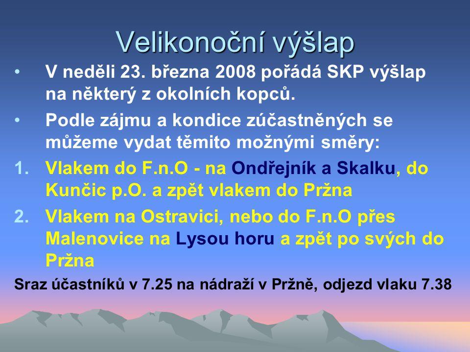 Velikonoční výšlap •V neděli 23. března 2008 pořádá SKP výšlap na některý z okolních kopců.