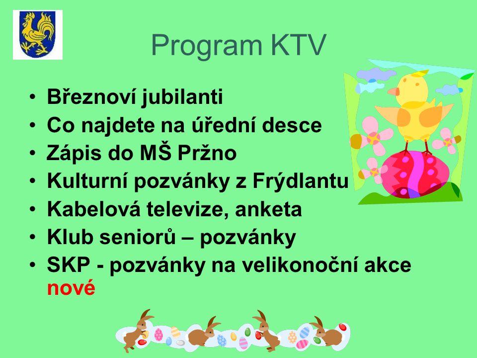 Program KTV •Březnoví jubilanti •Co najdete na úřední desce •Zápis do MŠ Pržno •Kulturní pozvánky z Frýdlantu •Kabelová televize, anketa •Klub seniorů – pozvánky •SKP - pozvánky na velikonoční akce nové