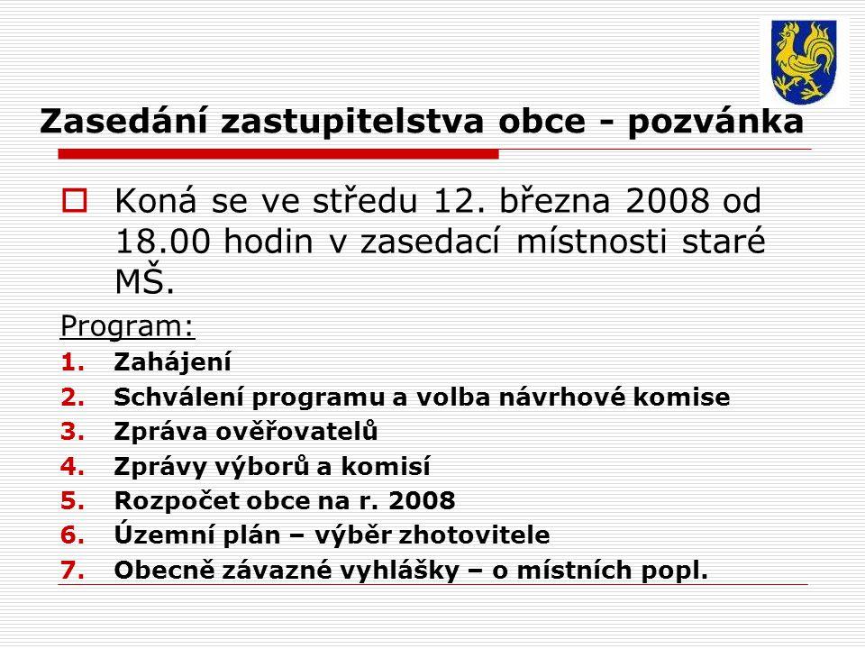 Zasedání zastupitelstva obce - pozvánka  Koná se ve středu 12.