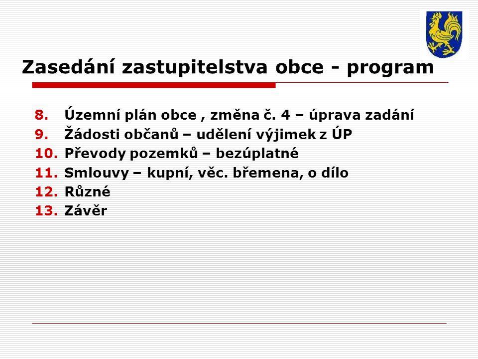 Zasedání zastupitelstva obce - program 8.Územní plán obce, změna č.