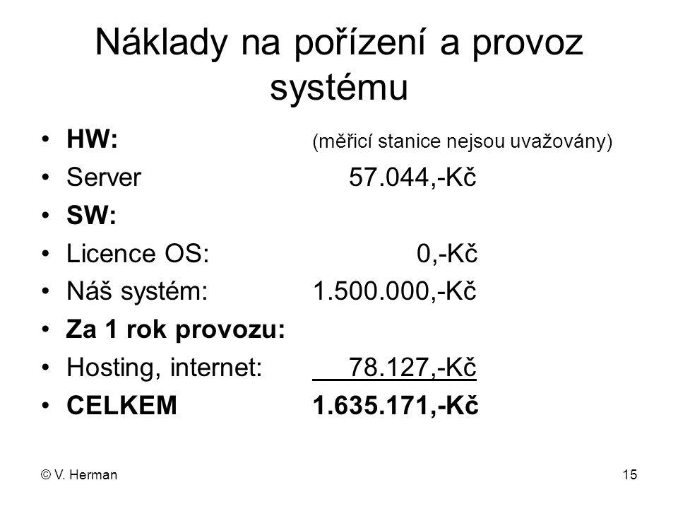 © V. Herman15 Náklady na pořízení a provoz systému •HW: (měřicí stanice nejsou uvažovány) •Server 57.044,-Kč •SW: •Licence OS: 0,-Kč •Náš systém:1.500
