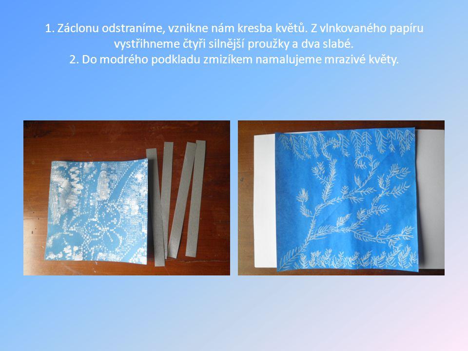 1. Záclonu odstraníme, vznikne nám kresba květů. Z vlnkovaného papíru vystřihneme čtyři silnější proužky a dva slabé. 2. Do modrého podkladu zmizíkem