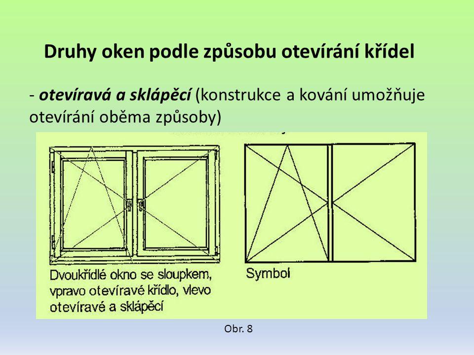 Druhy oken podle způsobu otevírání křídel - otevíravá a sklápěcí (konstrukce a kování umožňuje otevírání oběma způsoby) Obr. 8