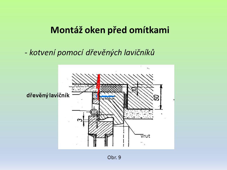 Montáž oken před omítkami - kotvení pomocí dřevěných lavičníků Obr. 9 dřevěný lavičník vrut