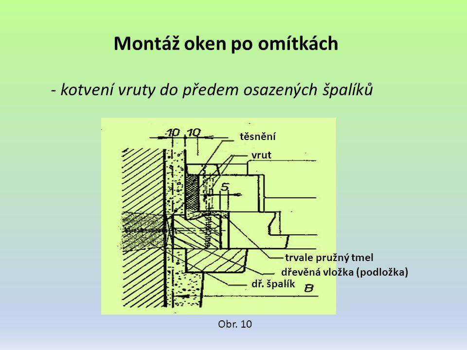 Montáž oken po omítkách - kotvení vruty do předem osazených špalíků Obr. 10 těsnění vrut trvale pružný tmel dřevěná vložka (podložka) dř. špalík