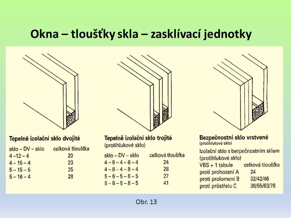 Okna – tloušťky skla – zasklívací jednotky Obr. 13