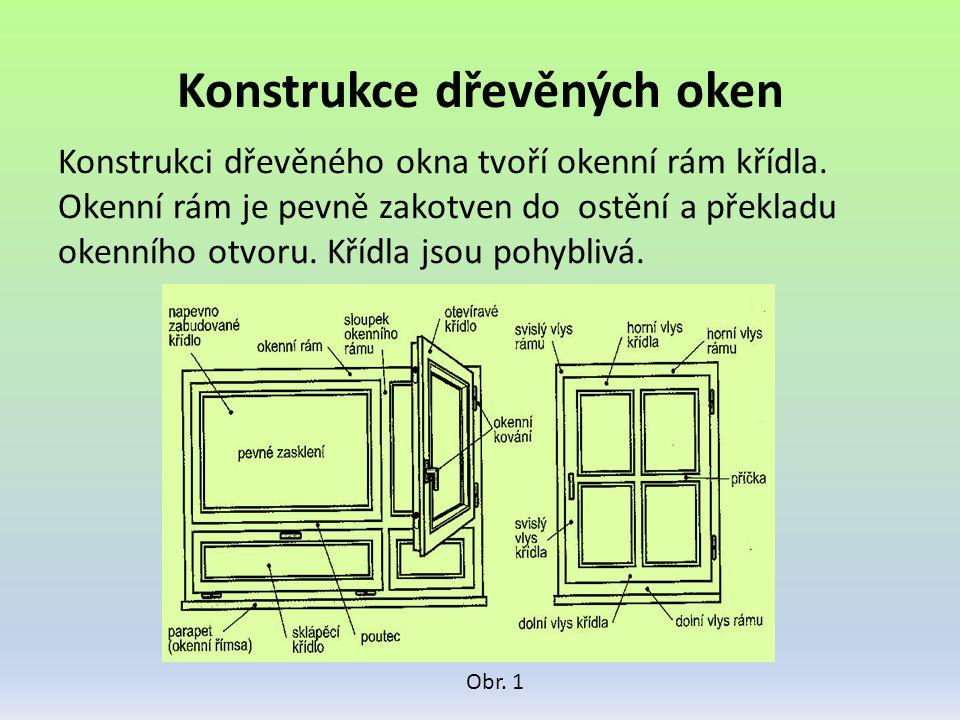 Konstrukce dřevěných oken Konstrukci dřevěného okna tvoří okenní rám křídla. Okenní rám je pevně zakotven do ostění a překladu okenního otvoru. Křídla