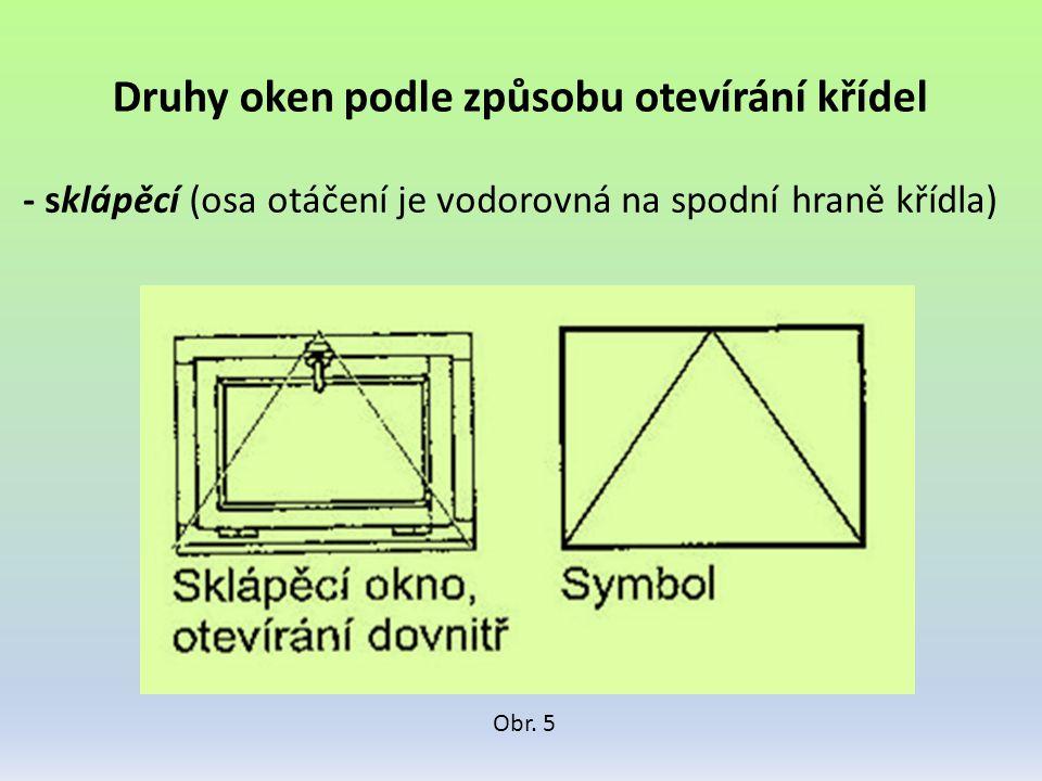 Druhy oken podle způsobu otevírání křídel - sklápěcí (osa otáčení je vodorovná na spodní hraně křídla) Obr. 5