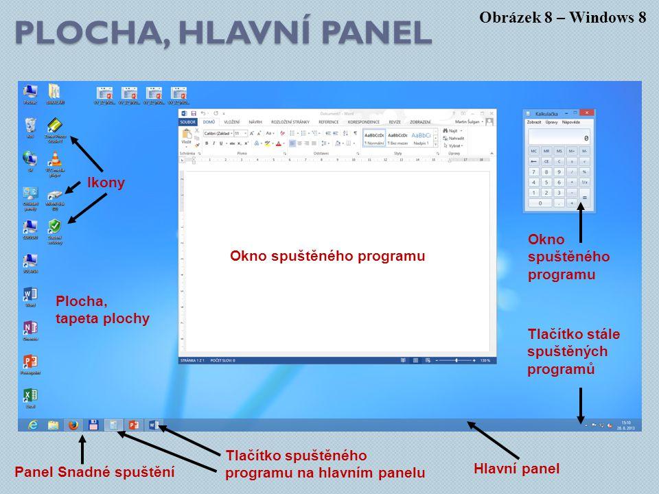 PLOCHA, HLAVNÍ PANEL Obrázek 8 – Windows 8 Plocha, tapeta plochy Okno spuštěného programu Tlačítko spuštěného programu na hlavním panelu Hlavní panel Tlačítko stále spuštěných programů Okno spuštěného programu Panel Snadné spuštění Ikony