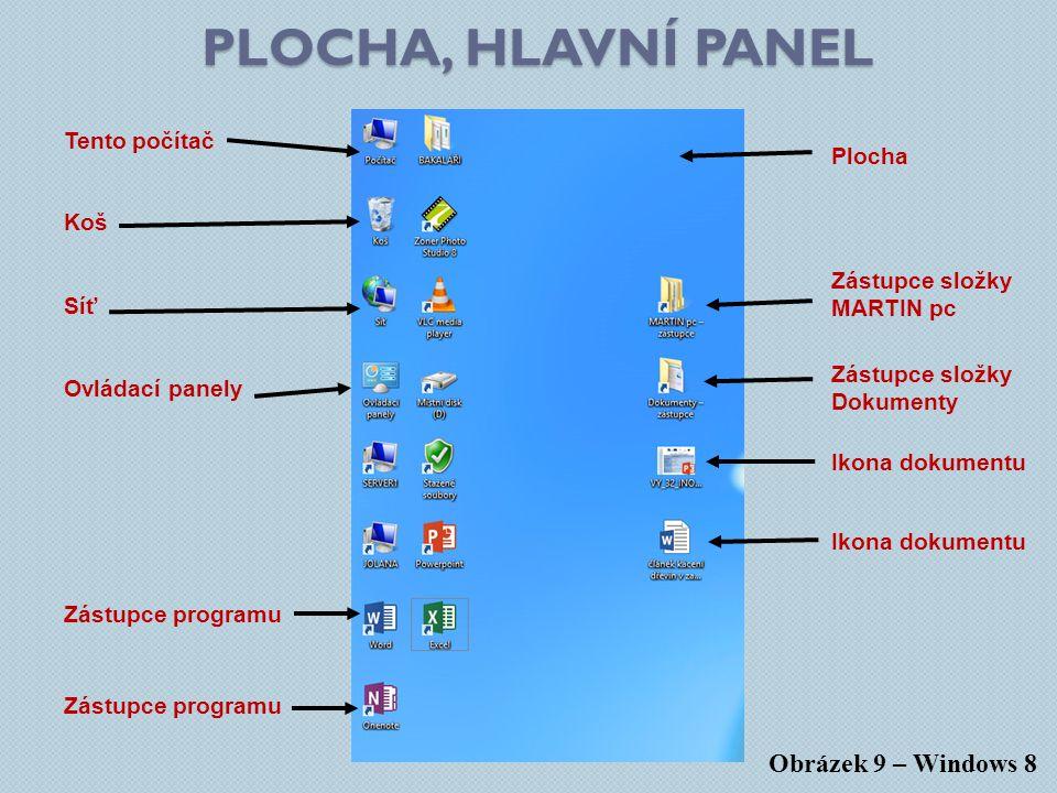 PLOCHA, HLAVNÍ PANEL Obrázek 9 – Windows 8 Zástupce složky Dokumenty Ikona dokumentu Zástupce programu Plocha Koš Tento počítač Zástupce programu Síť Ovládací panely Ikona dokumentu Zástupce složky MARTIN pc