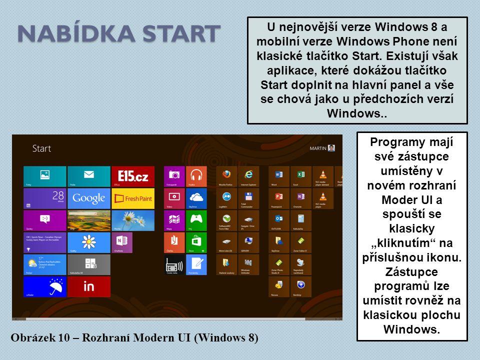 NABÍDKA START Obrázek 10 – Rozhraní Modern UI (Windows 8) U nejnovější verze Windows 8 a mobilní verze Windows Phone není klasické tlačítko Start.