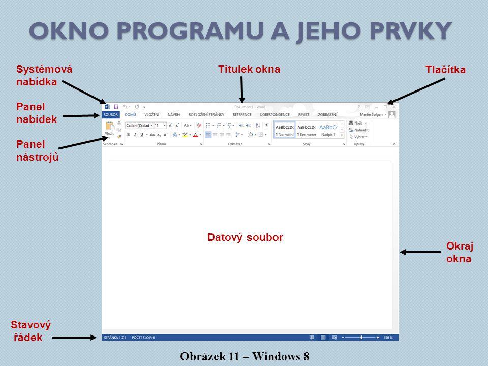 OKNO PROGRAMU A JEHO PRVKY Obrázek 11 – Windows 8 Panel nabídek Systémová nabídka Titulek okna Panel nástrojů Datový soubor Okraj okna Stavový řádek Tlačítka