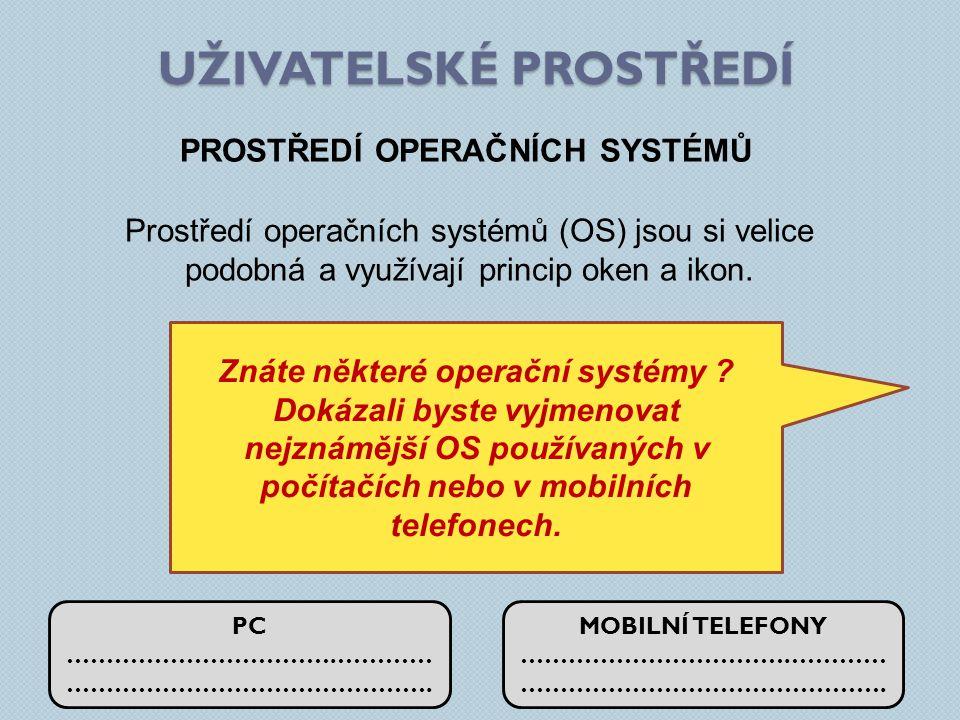 UŽIVATELSKÉ PROSTŘEDÍ PROSTŘEDÍ OPERAČNÍCH SYSTÉMŮ Prostředí operačních systémů (OS) jsou si velice podobná a využívají princip oken a ikon.