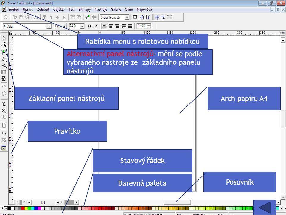 Nabídka menu s roletovou nabídkou Alternativní panel nástrojů- mění se podle vybraného nástroje ze základního panelu nástrojů Základní panel nástrojů Arch papíru A4 Barevná paleta Stavový řádek Posuvník Pravítko