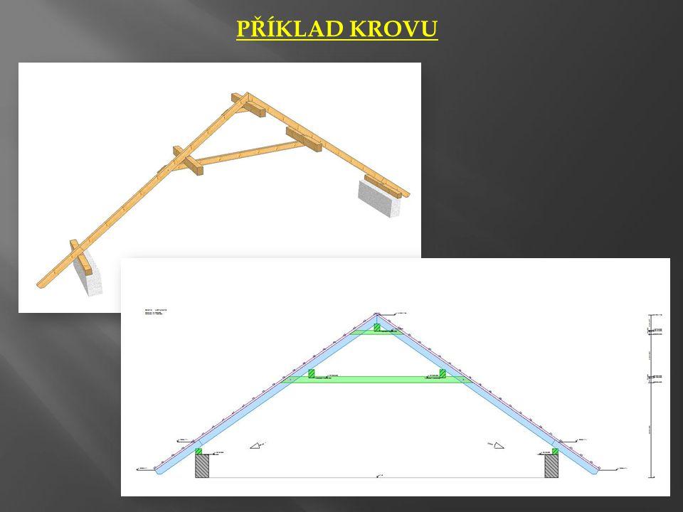 ŘEZ KROVEM • Konstrukce kolmé k okapu, který je rovnoběžný s rovinou řezu se zakreslují stejně jako v půdorysu – tenkou čerchovanou čarou s 1 tečkou (např.