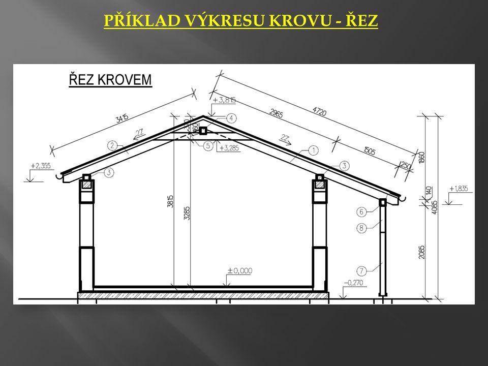 PŮDORYS KROVU • V půdorysu krovu se zobrazuje konstrukce střechy v pohledu shora, bez střešního pláště (latě, kontralatě, bednění, atp.) • V půdorysu i řezu se musí objevit všechny nosné konstrukce – zdivo i schodiště.