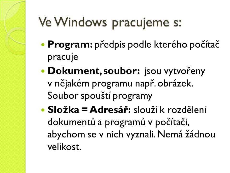 Ve Windows pracujeme s:  Program: předpis podle kterého počítač pracuje  Dokument, soubor: jsou vytvořeny v nějakém programu např. obrázek. Soubor s