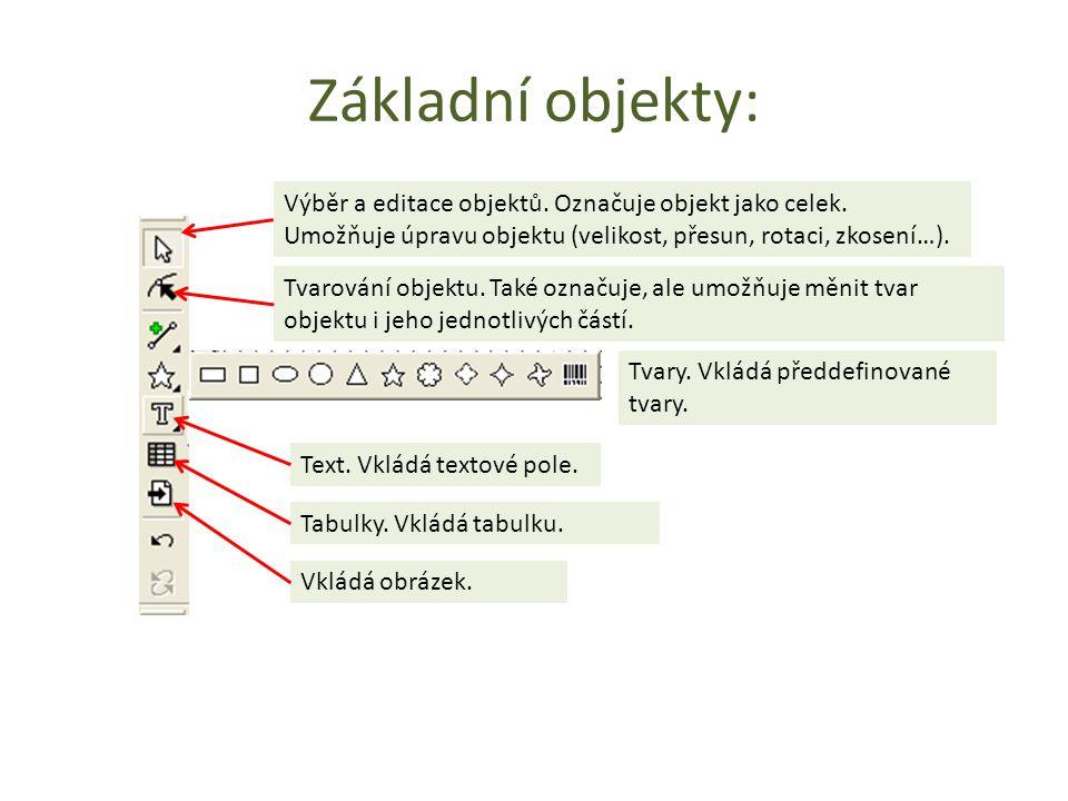 Základní objekty: Výběr a editace objektů.Označuje objekt jako celek.