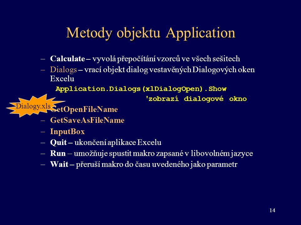 Metody objektu Application –Calculate – vyvolá přepočítání vzorců ve všech sešitech –Dialogs – vrací objekt dialog vestavěných Dialogových oken Excelu