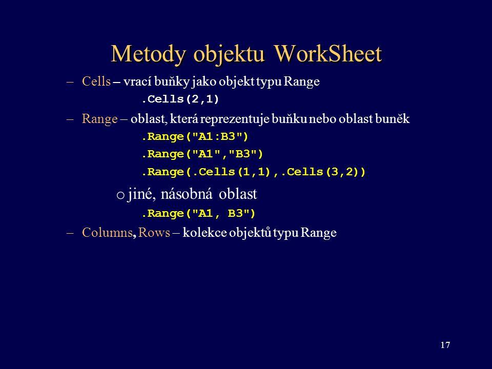Metody objektu WorkSheet –Cells – vrací buňky jako objekt typu Range.Cells(2,1) –Range – oblast, která reprezentuje buňku nebo oblast buněk.Range(